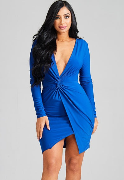 Royal Plunge Mini Dress - Anew Couture