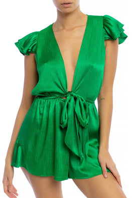Green Satin Tie Romper - Anew Couture