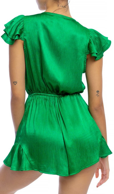 Crinkle Green Satin Tie Romper - Anew Couture