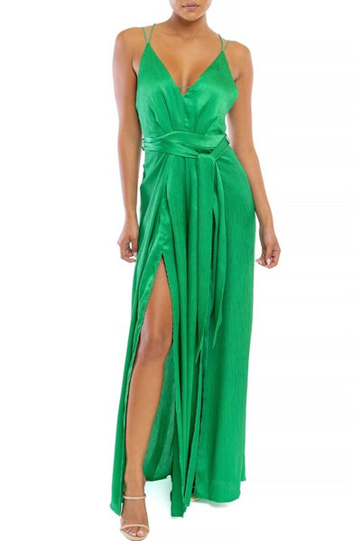Emerald Satin Split Legged Jumpsuit - Anew Couture