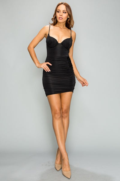 Crushing on Me Ruched Spaghetti Strap Bodycon Dress - Anew Couture