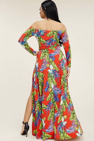 Take Me Multi color Tropical Off The Shoulder Maxi Dress - Anew Couture