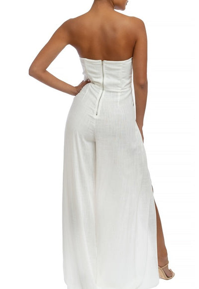 White Linen Split Jumpsuit - Anew Couture