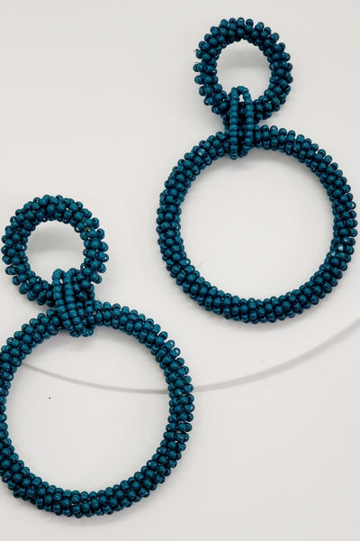 Teal Hoop Seed Beaded Earrings - Anew Couture