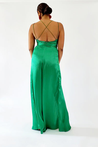 Emerald Satin Split Legged Jumpsuit