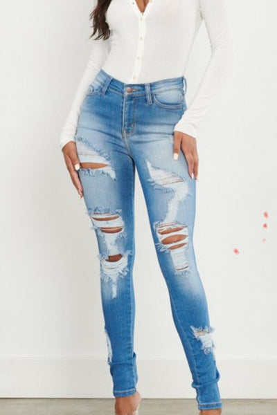 Ripped Down Distressed Skinny Jeans