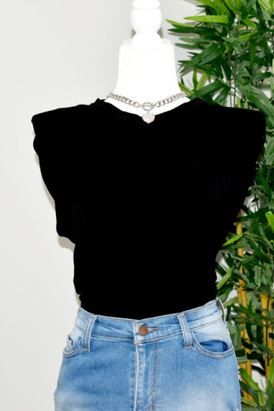 Sleeveless Shoulder Pad Tee (black)
