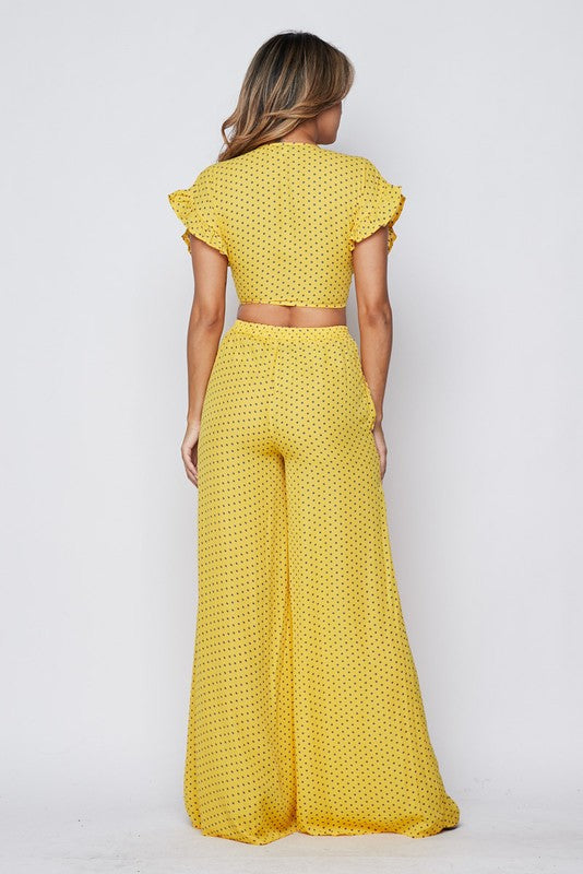 Summer Forever Polka Dot Crop Top and Pants set - Anew Couture