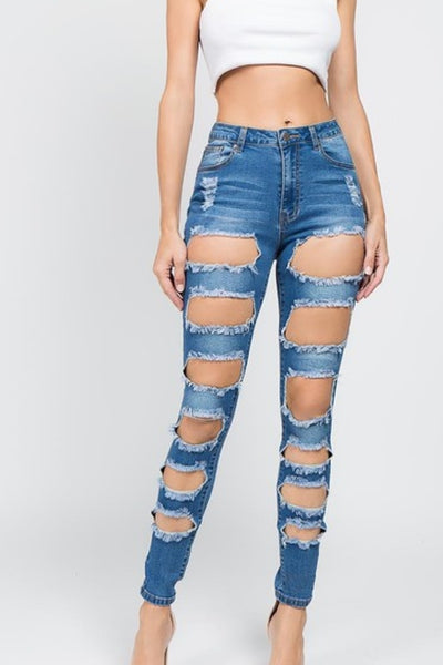 High Waisted Cut Out Jeans - Anew Couture