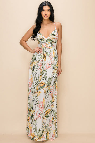 Leaf Print Maxi Dress - Anew Couture