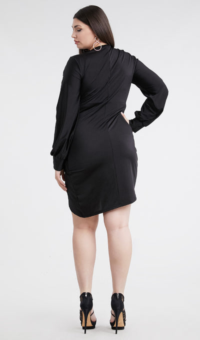 Black Long Sleeve Drape Dress (Plus) - Anew Couture