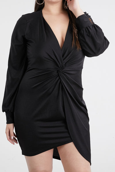 Black Long Sleeve Drape Dress - Anew Couture