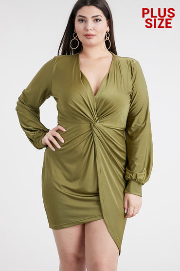 Olive Long Sleeve Drape Dress - Anew Couture