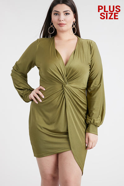 Olive Long Sleeve Drape Dress (Plus) - Anew Couture