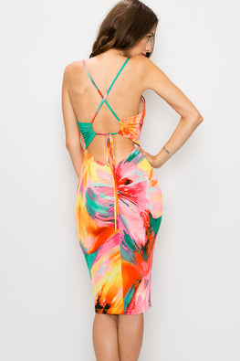 Tie Dye Crisscross Back Dress