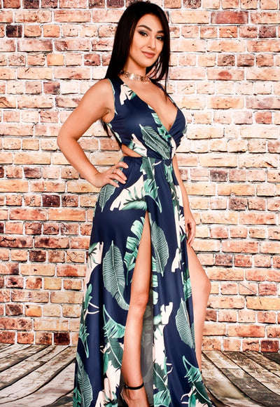 Tropical Escape Leaf Print Maxi Dress - Anew Couture