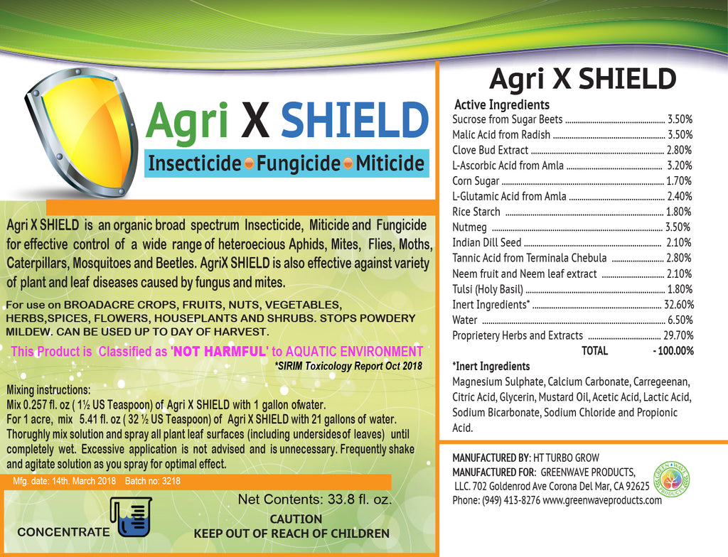 All Natural Organic-based AgriX SHIELD® Insecticide Fungicide - Green Wave Products, LLC