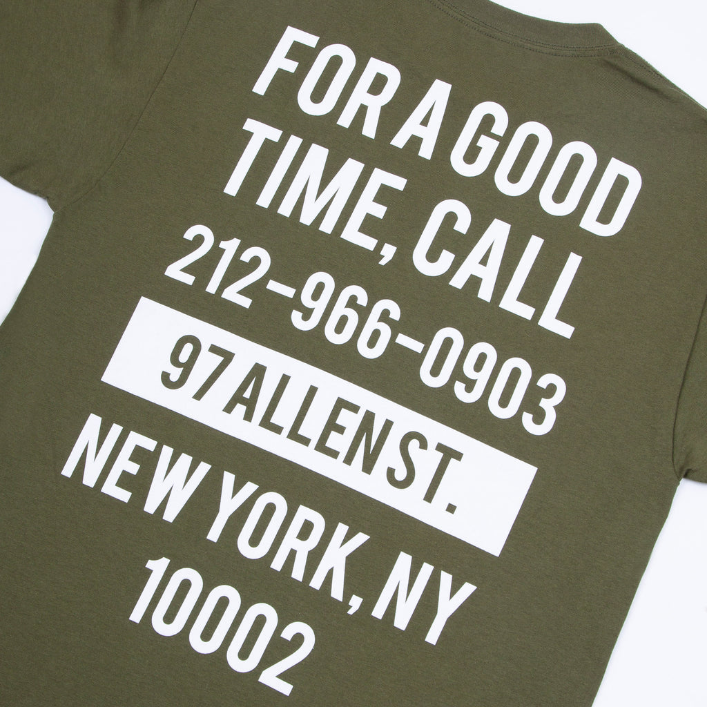Good Time Tee (Military Green / White)