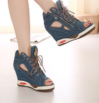 Hot New Denim Wedge Shoes - Yes Darling Boutique