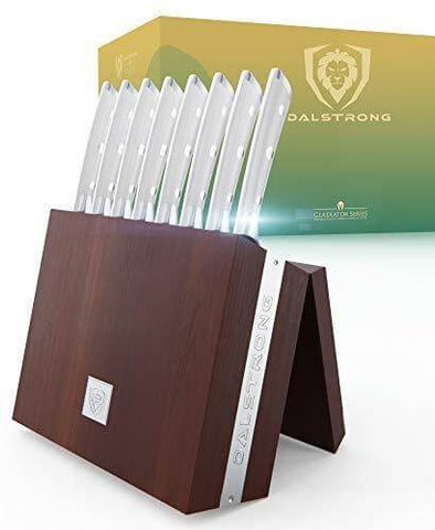 8-Piece Steak Knife Set   White ABS Handles with Storage Block   Gladiator Series   Knives NSF Certified   Dalstrong ©