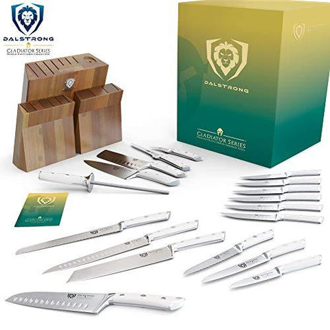 Gladiator Series 18-piece Colossal Knife Set with Block - White Handles