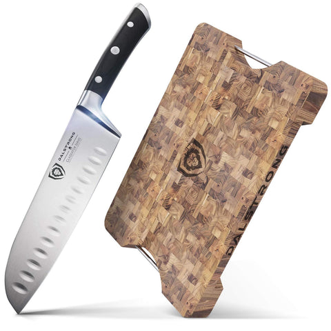 """The Dalstrong Lionswood End-Grain Teak Cutting & Serving Board Bundled with The Gladiator Series 7"""" Santoku Knife"""