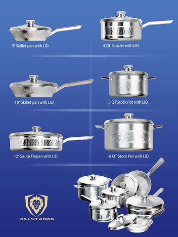 Different angles of the Avalon 12pc Silver Cookware Set dimensions