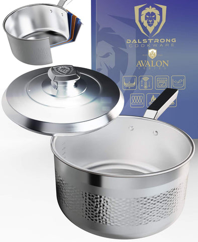 3 Quart Stock Pot   Hammered Finish Silver   Avalon Series   Dalstrong ©
