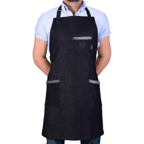 Man poses in Dalstrong Professional Chef's Kitchen Apron - The Night Rider with white background