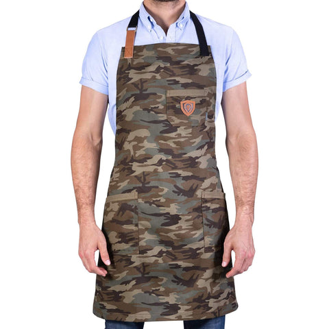 Man poses in Dalstrong Professional Chef's Kitchen Apron - The Kitchen Rambo with white background