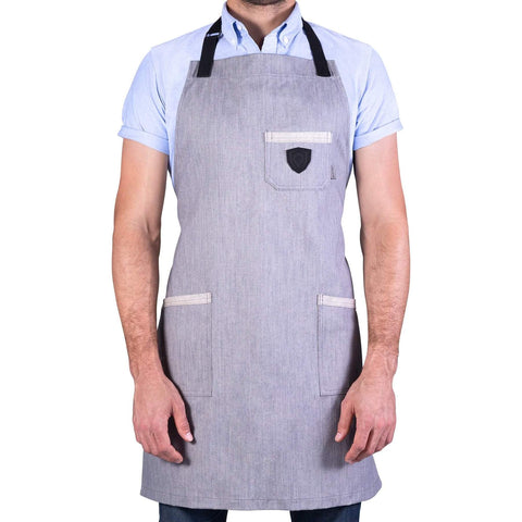 Man poses in Dalstrong Professional Chef's Kitchen Apron - The Gandalf with white background