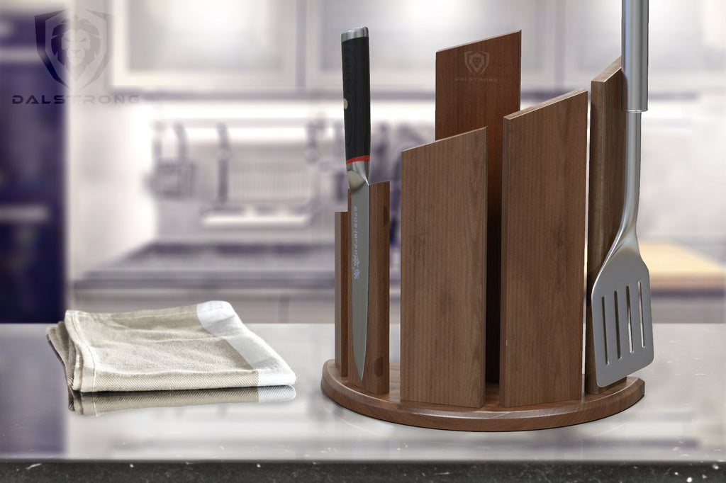 Magnetic Walnut Wood Block On A Granite Kitchen Counter Next To A Beige Kitchen Towel