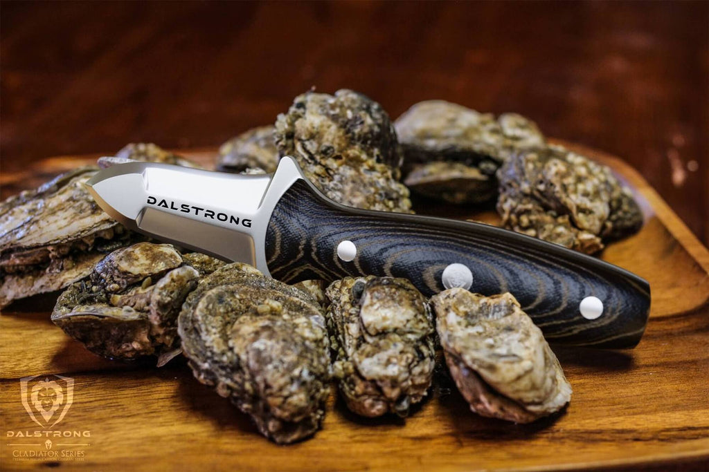 An oyster knife resting on a several fresh clams on a wooden table