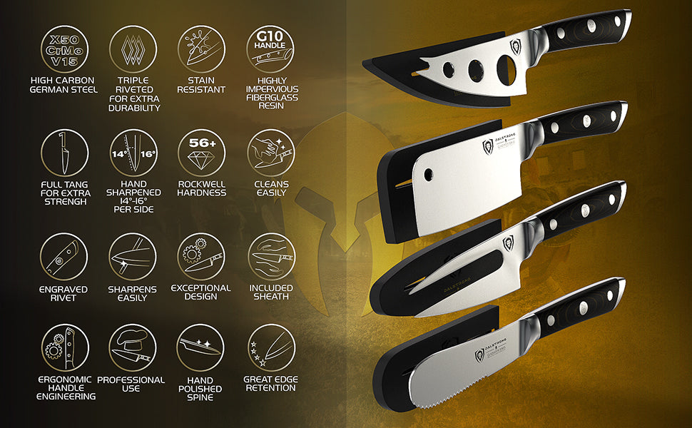 A breakdown of the different features of the Charcuterie & Cheese Knife Set | Gladiator Series | Dalstrong ©