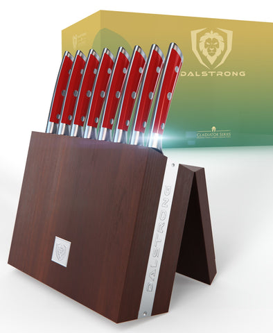 Gladiator Series 8-Piece Steak Knife Set - Red ABS Handles with Storage Block