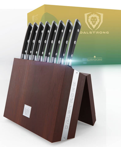 8-Piece Steak Knife Set with Storage Block | Gladiator Series | Knives NSF Certified | Dalstrong ©