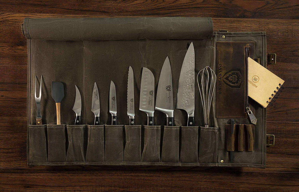 Dalstrong Knife Roll filled with various sized kitchen knives