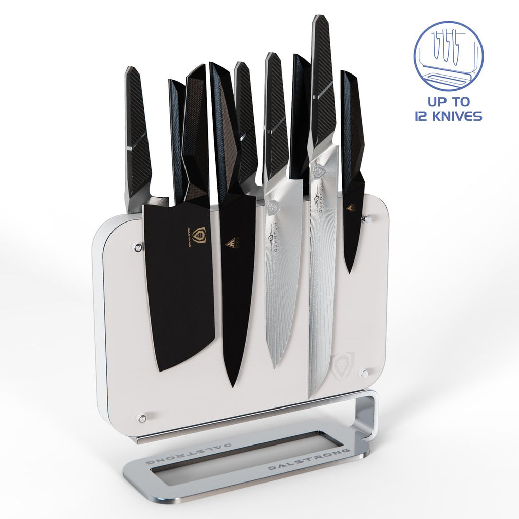 White Magnetic Blade Wall With 12 Knives Attached Against A Clean White Background