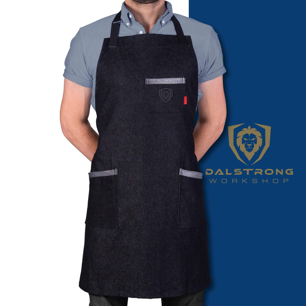 Dalstrong Professional Chef's Kitchen Apron - The Night Rider with logo on blue and white background