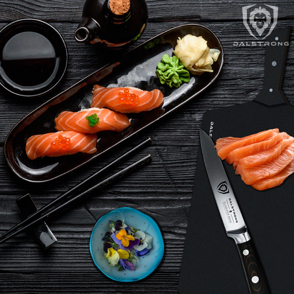 Table with Nigiri sushi and a Dalstrong 3.5 inch Paring Knife