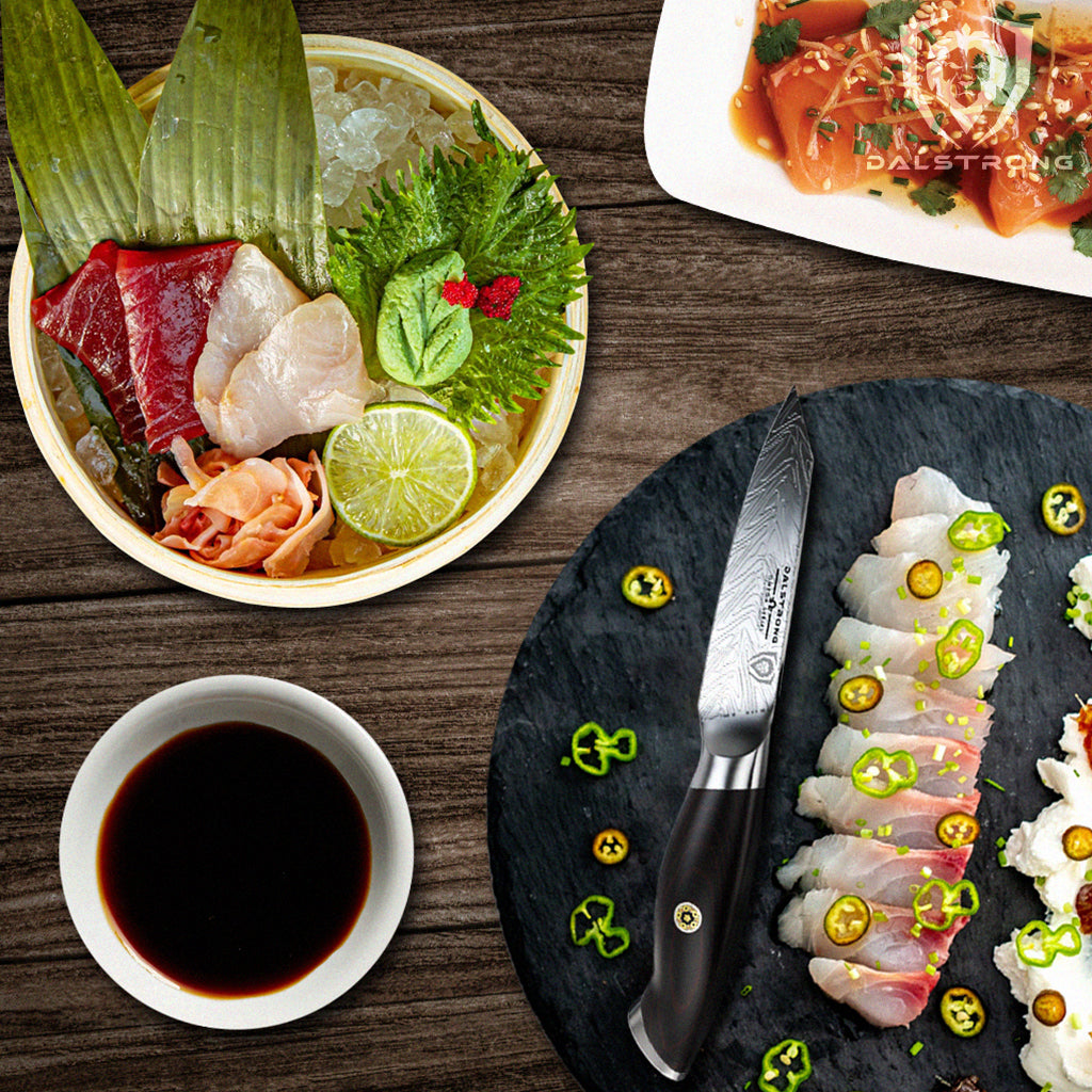 """Table with sushi ingredients and a Dalstrong 4"""" paring knife"""