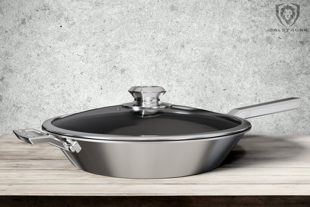 "12"" ETERNA Non-Stick Frying Pan & Skillet - The Oberon Series on a wooden table with a grey wall in the background"