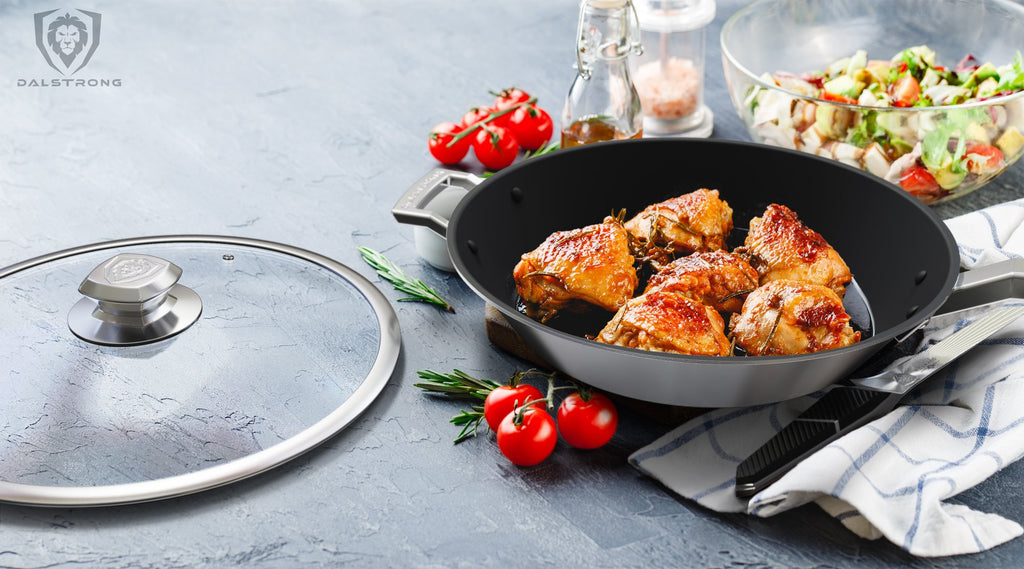 "12"" ETERNA Non-Stick Frying Pan & Skillet - The Oberon Series cooking fried chicken"