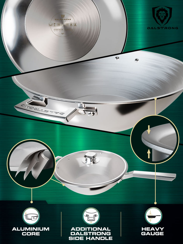 Three panels explaining the benefits of a silver wok against a green background