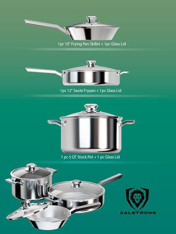 Three panel image of the Oberon 6pc Cookware Set