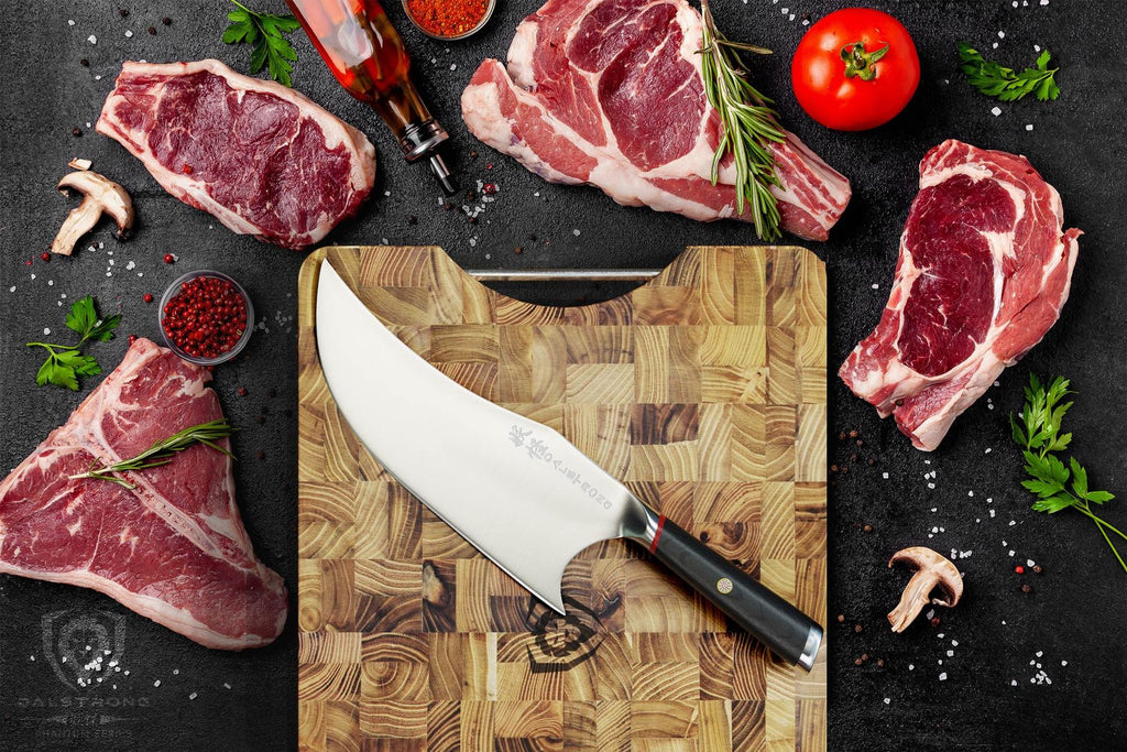 Unique cleaver knife on wooden cutting board that is surrounded by uncooked meat