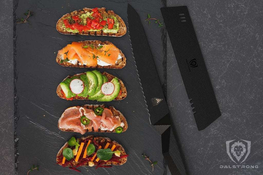 A tray of one slice sandwiches with different colourful toppings next to an all black utility knife