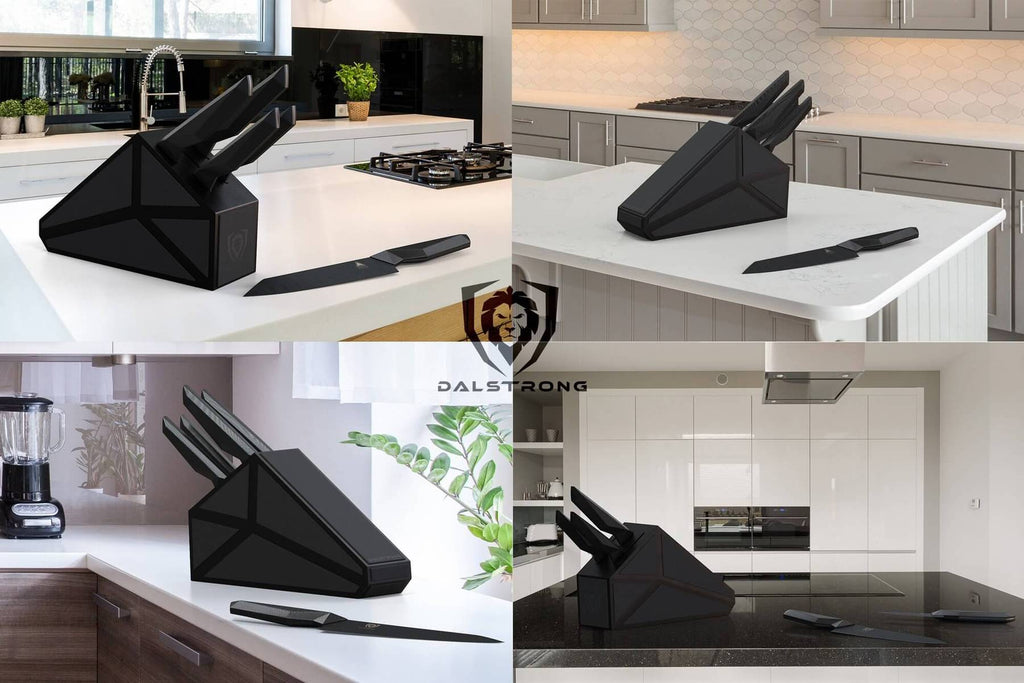Four panel image displaying different kitchens with the same black five piece knife block set