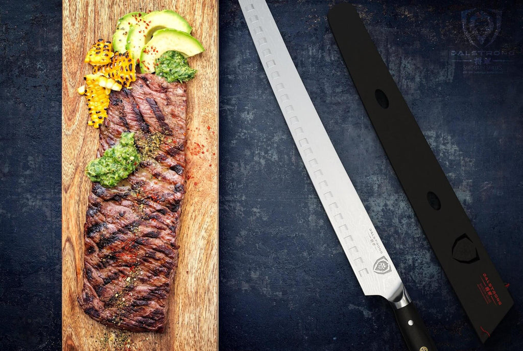 A long cutting board with cooked meat next to a long slicing knife