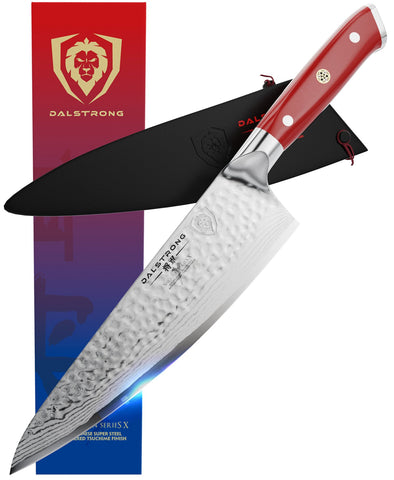 "Shogun Series X 8"" Chef Knife with Crimson Red Handle"